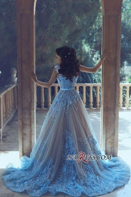 3D-Floral Appliques Luxury Sleeveless Blue A-line Prom Dresses_1