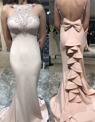 Sexy Sleeveless High Neck Bowknot Mermaid Prom Dresses | Pink Cheap Ruffles Backless Appliques Formal Dresses_3