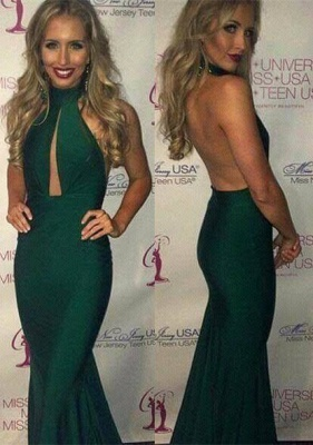 Gorgeous Green Halter 2020 Prom Dresses Mermaid Keyhole Party Gowns_1