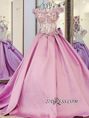 Off-the-Shoulder 2020 Puffy Beaded Applique Flowers Pink Prom Dresses With Bows_5