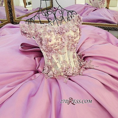 Off-the-Shoulder 2020 Puffy Beaded Applique Flowers Pink Prom Dresses With Bows_2