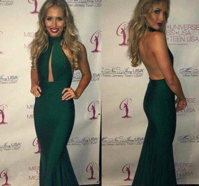 Gorgeous Green Halter 2020 Prom Dresses Mermaid Keyhole Party Gowns_3