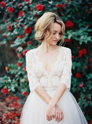 Gorgeous Hal-Sleeve Summer Lace Wedding Dress 2020 Tulle_1