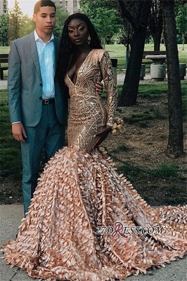 Glamorous Applique V-Neck Mermaid Prom Dresses | 2020 Long-Sleeves Prom Gown_4