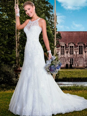 Delicate Illusion Mermaid Tulle Wedding Dress With Lace Appliques_1