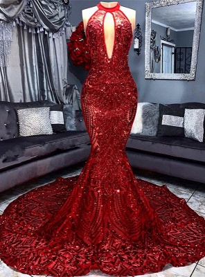 Sexy Red Sequins 2020 Prom Dress | 2020 Keyhole Sleeveless Mermaid Evening Gowns_1