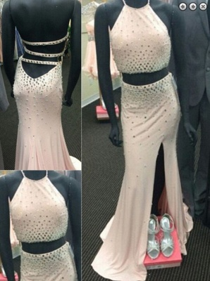 Gorgeous Two Pieces 2020 Prom Dresses Slit Crystal Floor Length_3