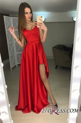 A-line Hi-Lo Sleeveless Red Modern Scoop Prom Dress_2