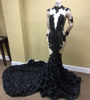Sexy Black Long Sleeve 2020 Prom Dress | Lace Evening Gown With Flowers Bottom RM0_3
