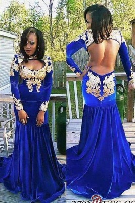 Zipper Mermaid Gorgeous Long-Sleeve Royal-Blue Appliques Prom Dress BK0_3