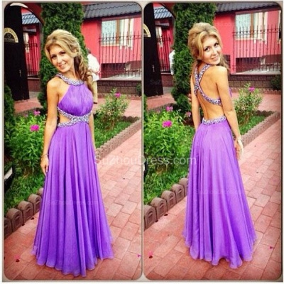 Purple A-Line Open Back Prom Gowns Criss-Cross Evening Dresses with Beadings_2