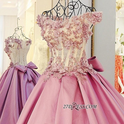 Off-the-Shoulder 2020 Puffy Beaded Applique Flowers Pink Prom Dresses With Bows_3