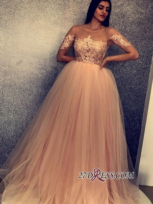 Beaded Scoop Short Tulle Sleeves Charming Prom Gowns_2