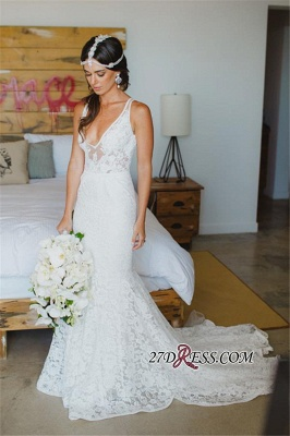 2020 Sleeveless Mermaid Sexy Deep-V-Neck Lace Wedding Dress_4