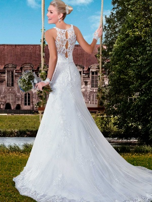 Delicate Illusion Mermaid Tulle Wedding Dress With Lace Appliques_3