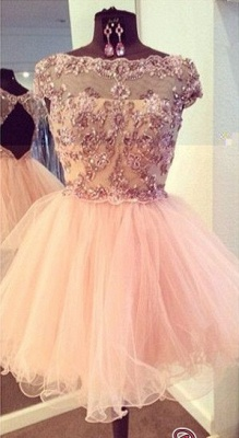 Bateau-Neck Beaded Luxury Puffy Capped-Sleeves Homecoming Dresses_3