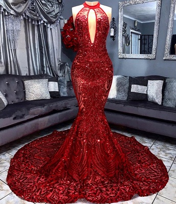 Sexy Red Sequins 2020 Prom Dress | 2020 Keyhole Sleeveless Mermaid Evening Gowns_2