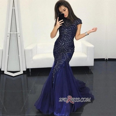 Sexy Mermaid Dark-Navy Crystal Cap-Sleeves Prom Dresses_1