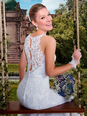 Delicate Illusion Mermaid Tulle Wedding Dress With Lace Appliques_4