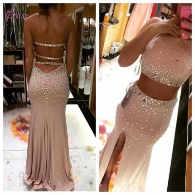 Gorgeous Two Pieces 2020 Prom Dresses Slit Crystal Floor Length_4
