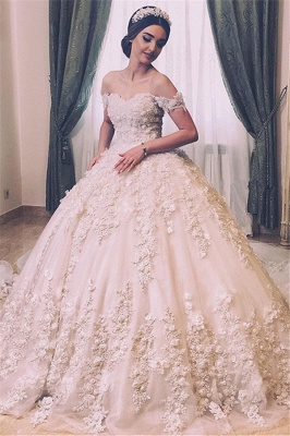 Elegant Floral Appliques Ball Gown Off-the-Shoulder Wedding Bridal Dress_1