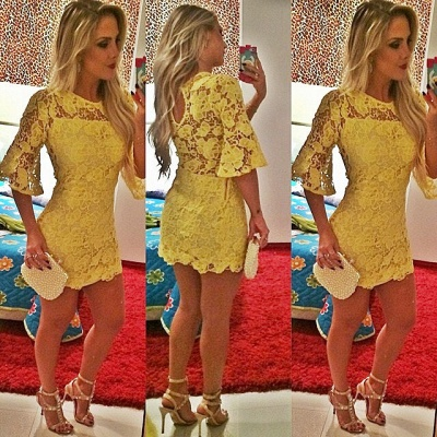 Sexy Short Yellow Cocktail Dress Lace Half Sleeve_2