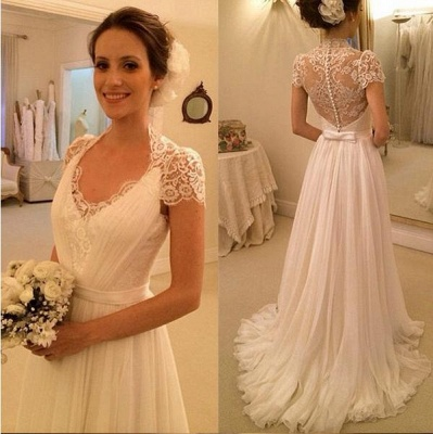 Elegant Scoop Cap Sleeve Chiffon Wedding Dress With Lace_2