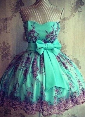 Lace Cheap Appliques Lovely Sweetheart Bowknot Short Sash Homecoming Dresses_2