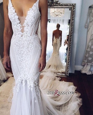 2020 Appliques V-Neck Elegant Mermaid Open-Back Wedding Dress BA4391_2