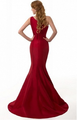 Sexy Burgundy One Shoulder Mermaid Prom Dress With Train_6