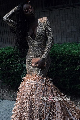 Glamorous Applique V-Neck Mermaid Prom Dresses | 2020 Long-Sleeves Prom Gown_2