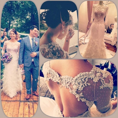 Gorgeous 3/4 Sleeve Fill Lace Wedding Dress 2020 Mermaid With Feather_2