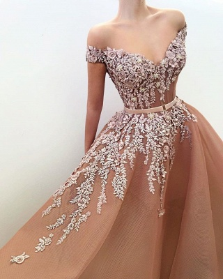 Stunning Off-the-Shoulder Appliques Evening Dresses | 2020 Tulle Long Prom Gowns On Sale BC1371_2
