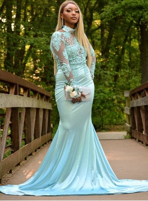 Popular High Neck Illusion Mermaid Prom Gown | 2020 Lace Appliques Long Prom Dress_2