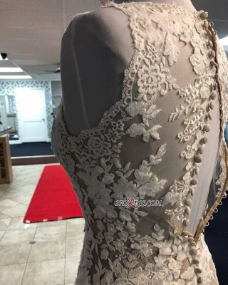 Lace Marvelous Mermaid Appliques V-neck Sleeveless Wedding Dresses_4