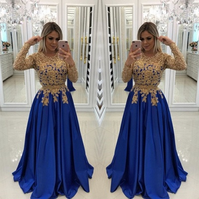 Modern Royal Blue & Gold Lace Evening Dress | Long Sleeve Party Gown BC0144_3