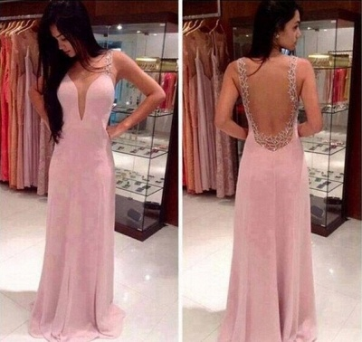 2020 Prom Dresses Deep V Neck Straps Pink Sheer Back Beading Sweep Train Evening Giowns BA2137_2