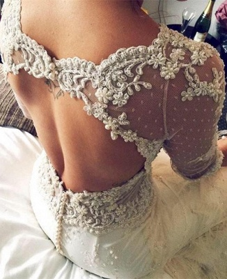 Gorgeous 3/4 Sleeve Fill Lace Wedding Dress 2020 Mermaid With Feather_1