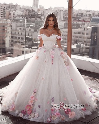 Flowers Glamorous Off-the-shoulder Weeding A-Line Dresses_1