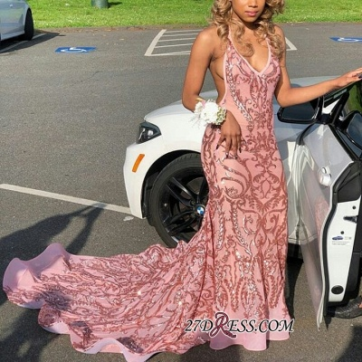 Lace-Appliques Deep-V-Neck Pink Sexy Mermaid Prom Dresses BC0870 bk0_3