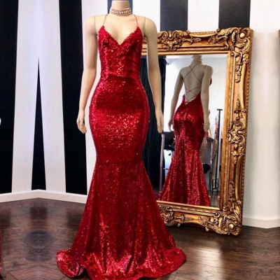 Sexy Red Sequins Prom Gowns | 2020 Spaghetti Straps Mermaid Evening Gowns Online BC0420_2