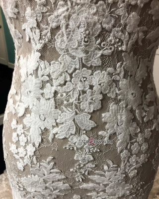Lace Marvelous Mermaid Appliques V-neck Sleeveless Wedding Dresses_1