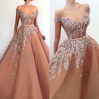 Stunning Off-the-Shoulder Appliques Evening Dresses | 2020 Tulle Long Prom Gowns On Sale BC1371_3