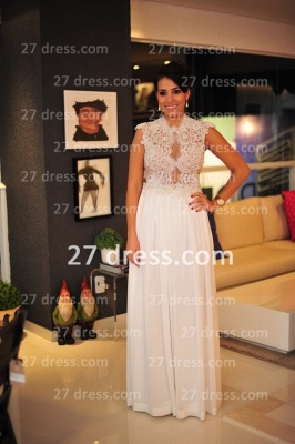 2020 White Lace Sexy Gowns for Evenings Chiffon Vestidos De Fiesta Cap Sleeves Nude Back Prom Dresses_1