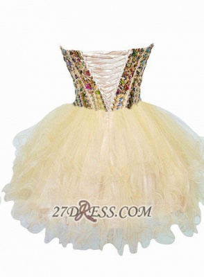Luxurious Sweetheart Sleeveless Cocktail Dress Colorful Crystals Lace-up Organza Short Homecoming Dress_2