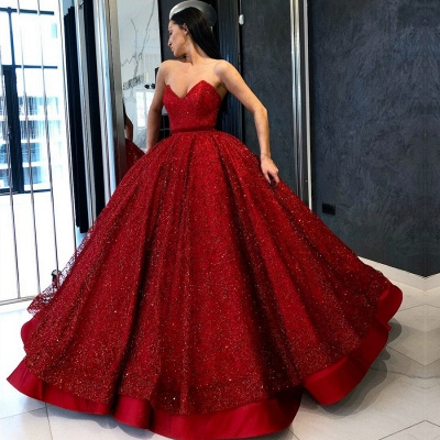 Gorgeous Red Sweetheart Evening Gowns | 2020 Sequins Ball Gown Prom Dress BC0890_2