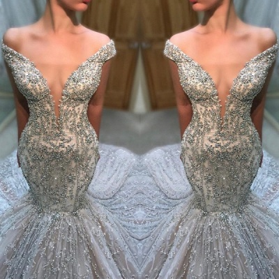 2020 Gorgeous Off-The-Shoulder V Neck Sleeveless Wedding Dress | Mermaid Beading Appliques Bridal Gown On Sale_2