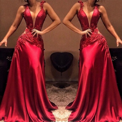 Sexy V-Neck Sleeveless 2020 Prom Dresses | Long Appliques Mermaid Evening Gowns _2