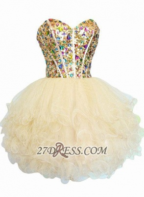 Luxurious Sweetheart Sleeveless Cocktail Dress Colorful Crystals Lace-up Organza Short Homecoming Dress_1