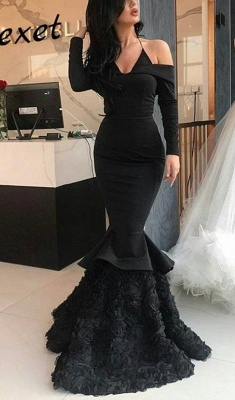 Sexy Spaghetti-Strap Long Sleeve Prom Dress | Black Mermaid Evening Gowns With Flowers Bottom_1